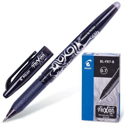 Ручка стираемая гелевая PILOT Frixion, корпус черный, узел 0,7мм, линия 0,35мм, черная, BL-FR-7  Код: 141456