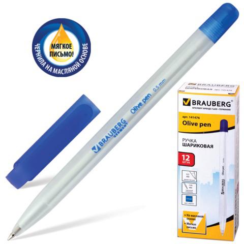 Ручка шариковая масляная BRAUBERG (Брауберг) Olive Pen, корпус прозрачный, 0,7мм, линия 0,35мм, синяя, 141476  Код: 141476