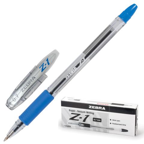 Ручка шариковая ZEBRA Z-1, корпус прозрачный, узел 0,7мм, линия 0,5мм, резин.упор, синяя, BP074-BL  Код: 141492