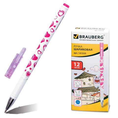 Ручка шариковая BRAUBERG (Брауберг) Сердечки, корпус с печатью, узел 0,7мм, линия 0,35мм, синяя, 141535  Код: 141535