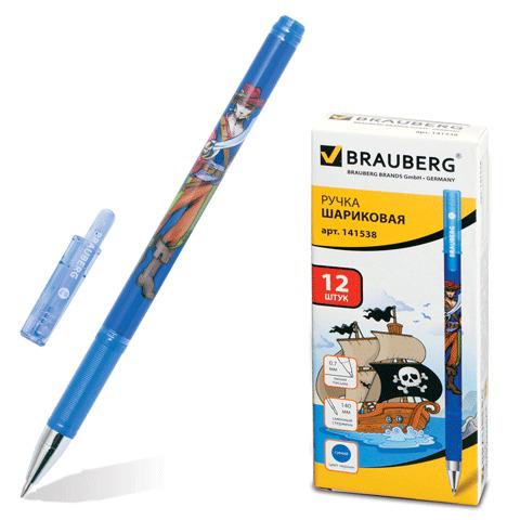 Ручка шариковая BRAUBERG (Брауберг) Корсары, корпус с печатью, узел 0,7мм, линия 0,35мм, синяя, 141538  Код: 141538