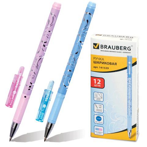 Ручка шариковая BRAUBERG (Брауберг) Узоры, корпус с печатью ассорти, узел 0,7мм, линия 0,35мм, синяя, 141539  Код: 141539
