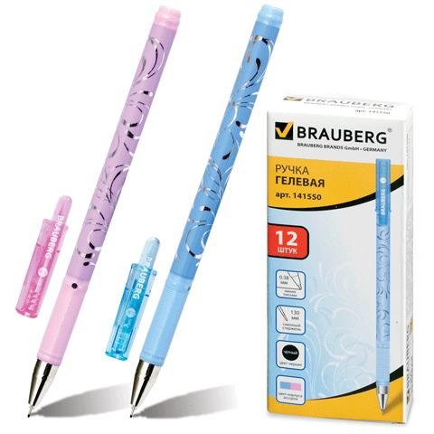 Ручка гелевая BRAUBERG (Брауберг) Elegant, корпус ассорти, игольчатый узел 0,5мм, линия 0,38мм, черная, 141550  Код: 141550