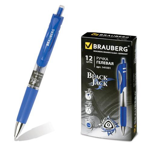 Ручка гелевая автомат. BRAUBERG (Брауберг) Black Jack, трехгранная, узел 0,7мм, линия 0,5мм, синяя, 141551  Код: 141551
