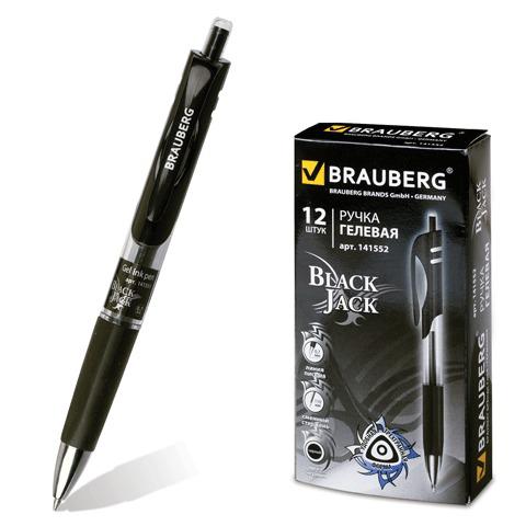 Ручка гелевая автомат. с грипом BRAUBERG (Брауберг) Black Jack, трехгранная, 0,7мм, линия 0,5мм, черная, 141552  Код: 141552
