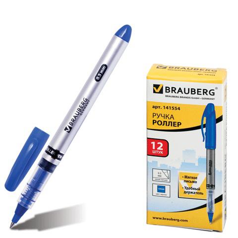 Ручка-роллер BRAUBERG (Брауберг) Control, корпус серебристый, узел 0,5мм, линия 0,3мм, синяя, 141554  Код: 141554
