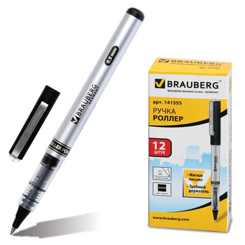 Ручка-роллер BRAUBERG (Брауберг) Flagman, корпус серебристый, хром.детали, 0,5мм, линия 0,3мм, черная, 141555  Код: 141555