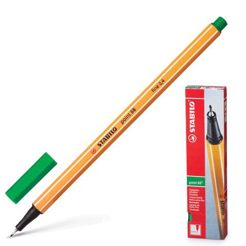 Ручка капиллярная STABILO Point, корпус оранжевый, толщина письма 0,4мм, зеленая, 88/36  Код: 141577
