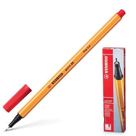 Ручка капиллярная STABILO Point, корпус оранжевый, толщина письма 0,4мм, красная, 88/40  Код: 141578