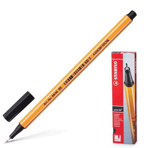 Ручка капиллярная STABILO Point, корпус оранжевый, толщина письма 0,4мм, черная, 88/46  Код: 141580