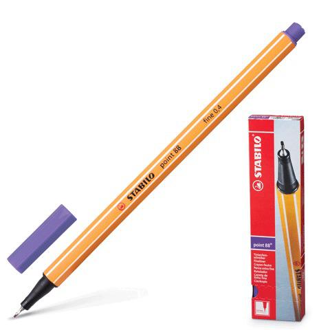 Ручка капиллярная STABILO Point, корпус оранжевый, толщина письма 0,4мм, фиолетовая, 88/55  Код: 141581