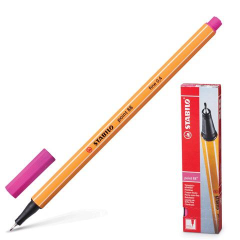 Ручка капиллярная STABILO Point, корпус оранжевый, толщина письма 0,4мм, розовая, 88/56  Код: 141582