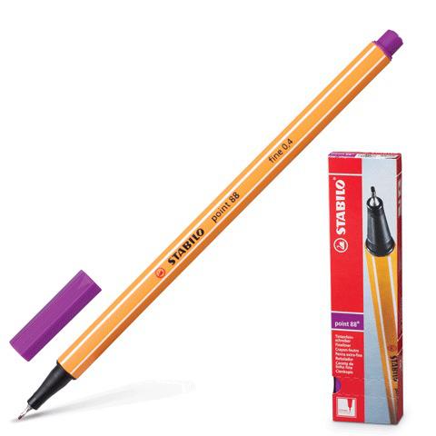 Ручка капиллярная STABILO Point, корпус оранжевый, толщина письма 0,4мм, сиреневая, 88/58  Код: 141583