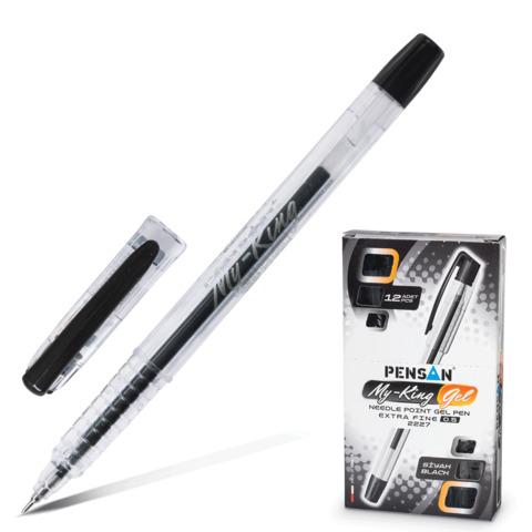 Ручка гелевая PENSAN My-King, корпус прозрачный, игольчатый узел 0,5мм, линия 0,3мм, черная, 2227  Код: 141599