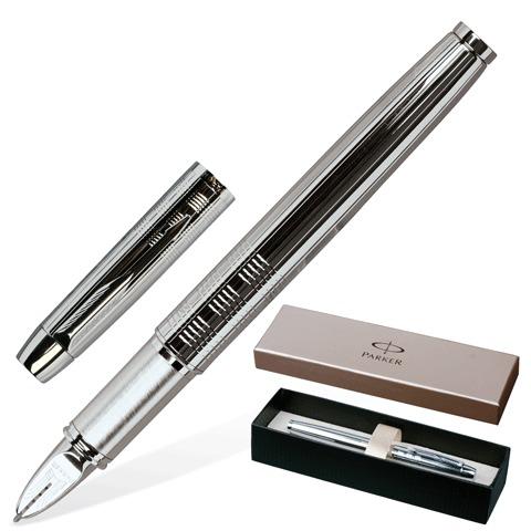 "Ручка подарочная ""5-й пишущий узел"" PARKER IM Premium Shiny Chrome Chiselled CT, черная, S0976090  Код: 141616"