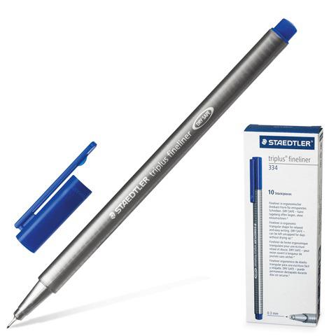 Ручка капиллярная STAEDTLER TRIPLUS FINELINER, трехгранная, толщина письма 0,3мм, синяя, 334-3  Код: 141619