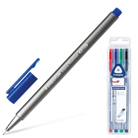 Ручки капиллярные STAEDTLER, НАБОР 4шт, трехгранные, толщина письма 0,3мм, ассорти, 334SB4  Код: 141621