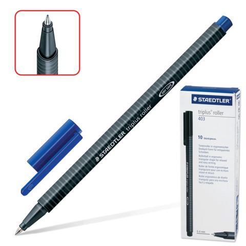 Ручка-роллер STAEDTLER (Германия) Triplus Roller, трехгранная, узел 0,7мм, линия 0,4мм, синяя, 403-3  Код: 141629