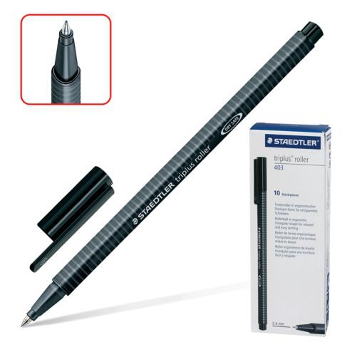 Ручка-роллер STAEDTLER (Германия) Triplus Roller, трехгранная, узел 0,7мм, линия 0,4мм, черная,403-9  Код: 141630