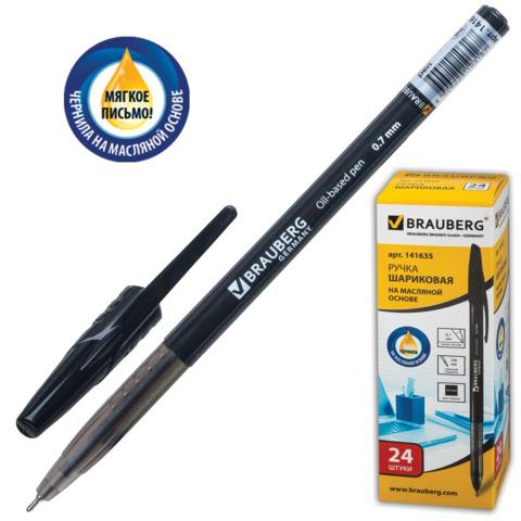 Ручка шариковая масляная BRAUBERG (Брауберг) Oil Base, корпус черный, узел 0,7мм, линия 0,35мм, черная, 141635  Код: 141635