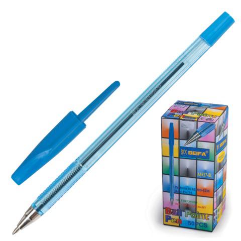 Ручка шариковая BEIFA (Бэйфа) 927, корпус тонированный синий, 0,7мм, линия 0,5мм, синяя, AA927-BL  Код: 141660