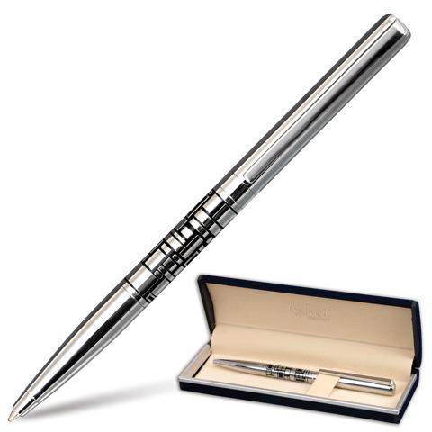 Ручка подарочная шариковая Galant (Галант) Basel, корпус серебристый/черный, хром. детали, 0,7мм, синяя, 141665  Код: 141665