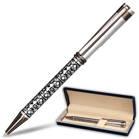 Ручка подарочная шариковая Galant (Галант) Locarno, корпус серебристый/черный, хром.детали, 0,7мм, синяя, 141667  Код: 141667