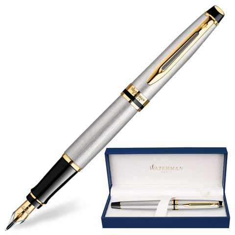 Ручка подарочная перьевая WATERMAN Expert 3 Stainless Steel GT, серебрист., позол.дет,синий, S0951940  Код: 141686