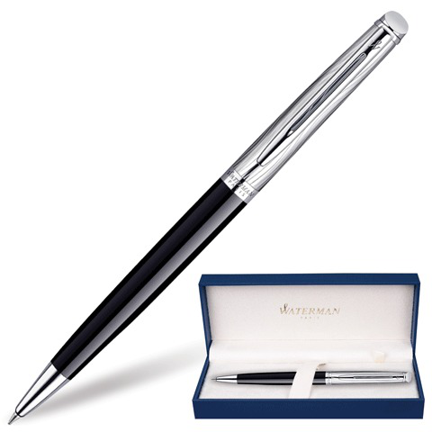 Ручка подарочная шариковая WATERMAN Hemisphere Deluxe Black CT, черный лак, паллад.покр,син,S0921150  Код: 141690