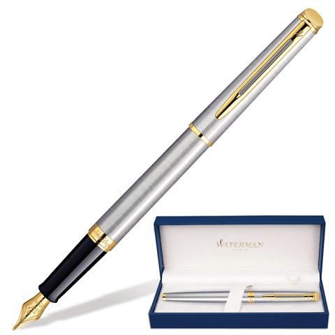 Ручка подарочная перьевая WATERMAN Hemisphere Stainless Steel GT, серебрист, позол.дет, син,S0920310  Код: 141691