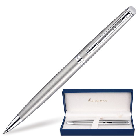 Ручка подарочная шариковая WATERMAN Hemisphere Stainless Steel CT, серебрист, хром.дет, син,S0920470  Код: 141694