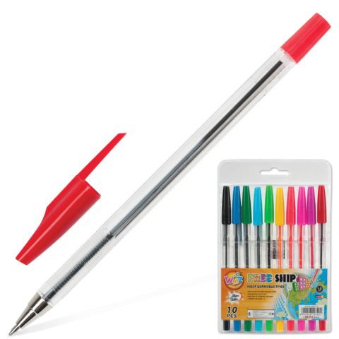 Ручки шариковые BEIFA (Бэйфа), НАБОР 10шт, WMZ, узел 1,2мм, линия 1мм, ассорти, AA927-10  Код: 141724