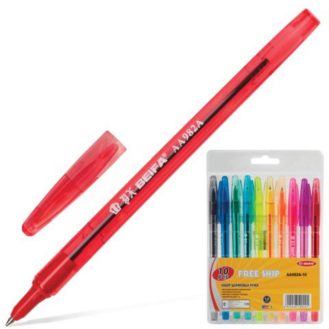Ручки шариковые BEIFA (Бэйфа), НАБОР 10шт, корпус цветной, 1,2мм, линия 1мм, ассорти, AA982A-10  Код: 141726