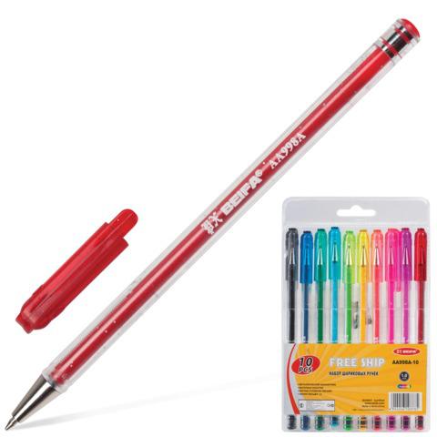 Ручки шариковые BEIFA (Бэйфа), НАБОР 10шт, корпус с блестками, 1,2мм, линия 1мм, ассорти, AA998A-10  Код: 141729
