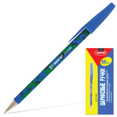 Ручка шариковая BEIFA (Бэйфа), корпус ассорти, узел 0,7мм, линия 0,5мм, синяя, AA110D-BL  Код: 141733