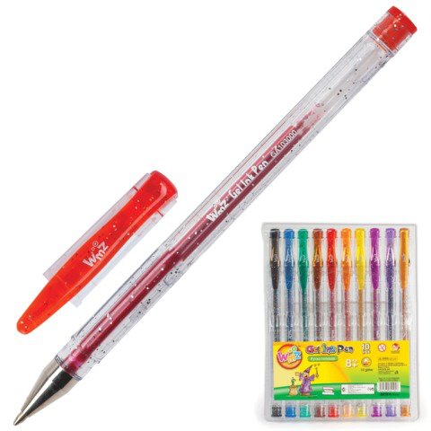 Ручки гелевые BEIFA (Бэйфа), НАБОР 10шт, WMZ, с блестками, 0,9мм, линия 0,7мм, ассорти, GA1030-10  Код: 141752