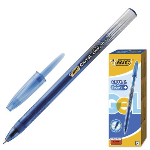 Ручка гелевая BIC Cristal Gel+, корпус тонированный синий, узел 0,5мм, линия 0,27мм, синяя, 905489  Код: 141774