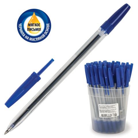 Ручка шариковая масляная СТАММ Оптима, корпус прозрачный, узел 1,2мм, линия 0,7мм, синяя, РО20  Код: 141802