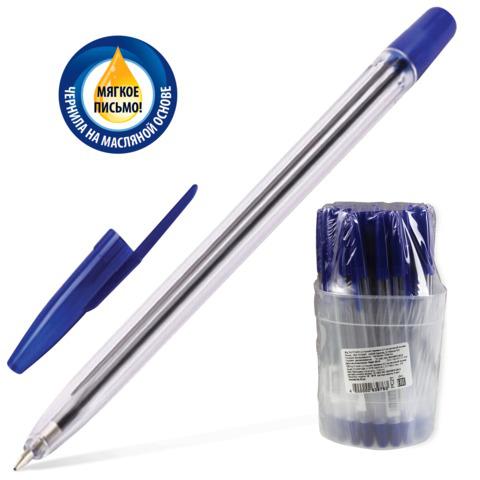 Ручка шариковая масляная СТАММ 111, корпус прозрачный, узел 1,2мм, линия 1мм, синяя, РС21  Код: 141803