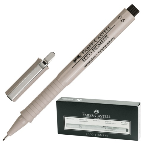 Ручка капиллярная FABER-CASTELL Ecco Pigment, корпус серый, толщина письма 0,6мм, черная, 166699  Код: 141816