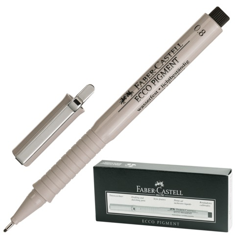Ручка капиллярная FABER-CASTELL Ecco Pigment, корпус серый, толщина письма 0,8мм, черная, 166899  Код: 141818