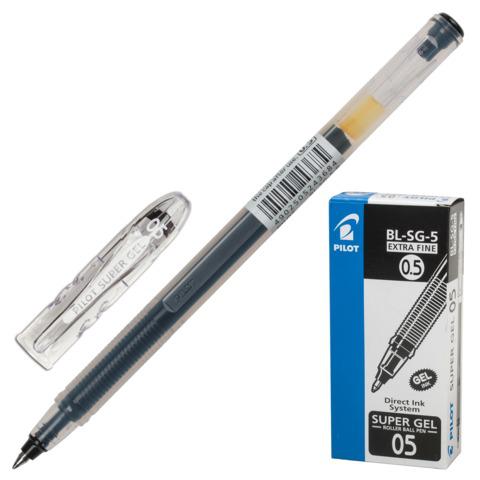 Ручка гелевая PILOT Super Gel, корпус прозрачный, узел 0,5мм, линия 0,3мм, черная, BL-SG-5  Код: 141841
