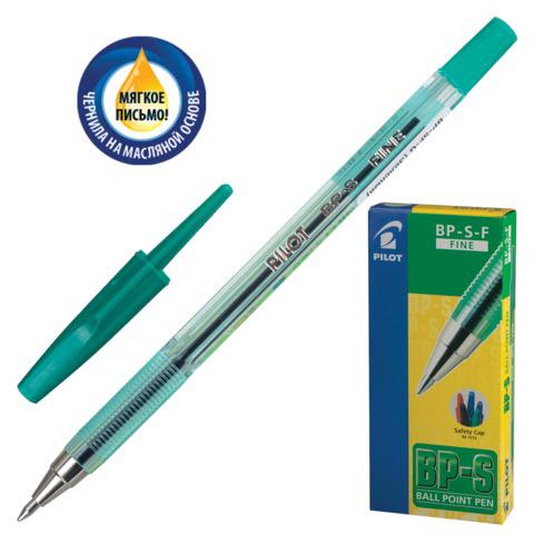 Ручка шариковая масляная PILOT BP-S, корпус тониров. зеленый, 0,7мм, линия 0,32мм, зеленая, BP-S-F  Код: 141849