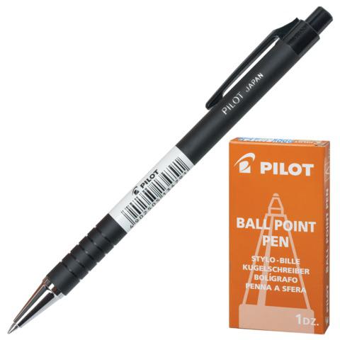 Ручка шариковая масляная автомат. PILOT, корпус черный, 0,7мм, линия 0,32мм, синяя, BPRK-10M  Код: 141861