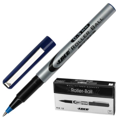 Ручка-роллер LACO (ЛАКО, Германия), корпус серый, узел 0,7мм, линия письма 0,5мм, синяя, RB 12  Код: 141873
