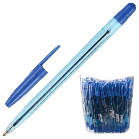 Ручка шариковая масляная СТАММ Офис, корпус тонированный синий, узел 1,2мм, линия 1мм, синяя, ОФ999  Код: 141892