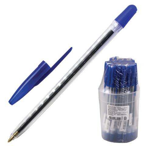 Ручка шариковая СТАММ 111, корпус прозрачный, узел 1,2мм, линия письма 1мм, синяя, РС01  Код: 141894