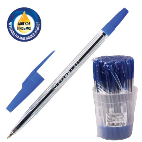 Ручка шариковая масляная СТАММ 511, корпус прозрачный, узел 1,2мм, линия 0,7мм, синяя, РК30  Код: 141897