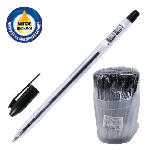Ручка шариковая масляная СТАММ VeGa, корпус прозрачный, узел 1,2мм, линия 0,7мм, черная, РШ108  Код: 141899