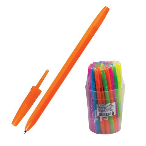Ручка шариковая СТАММ Оптима, корпус неоновый ассорти, узел 1,2мм, линия письма 0,7мм, синяя, РО10  Код: 141902